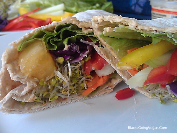 vegan Lavash sandwiches with spicy hummus and veggies