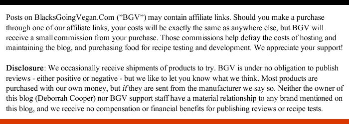 FTC disclosure for web reviews by blacks going vegan