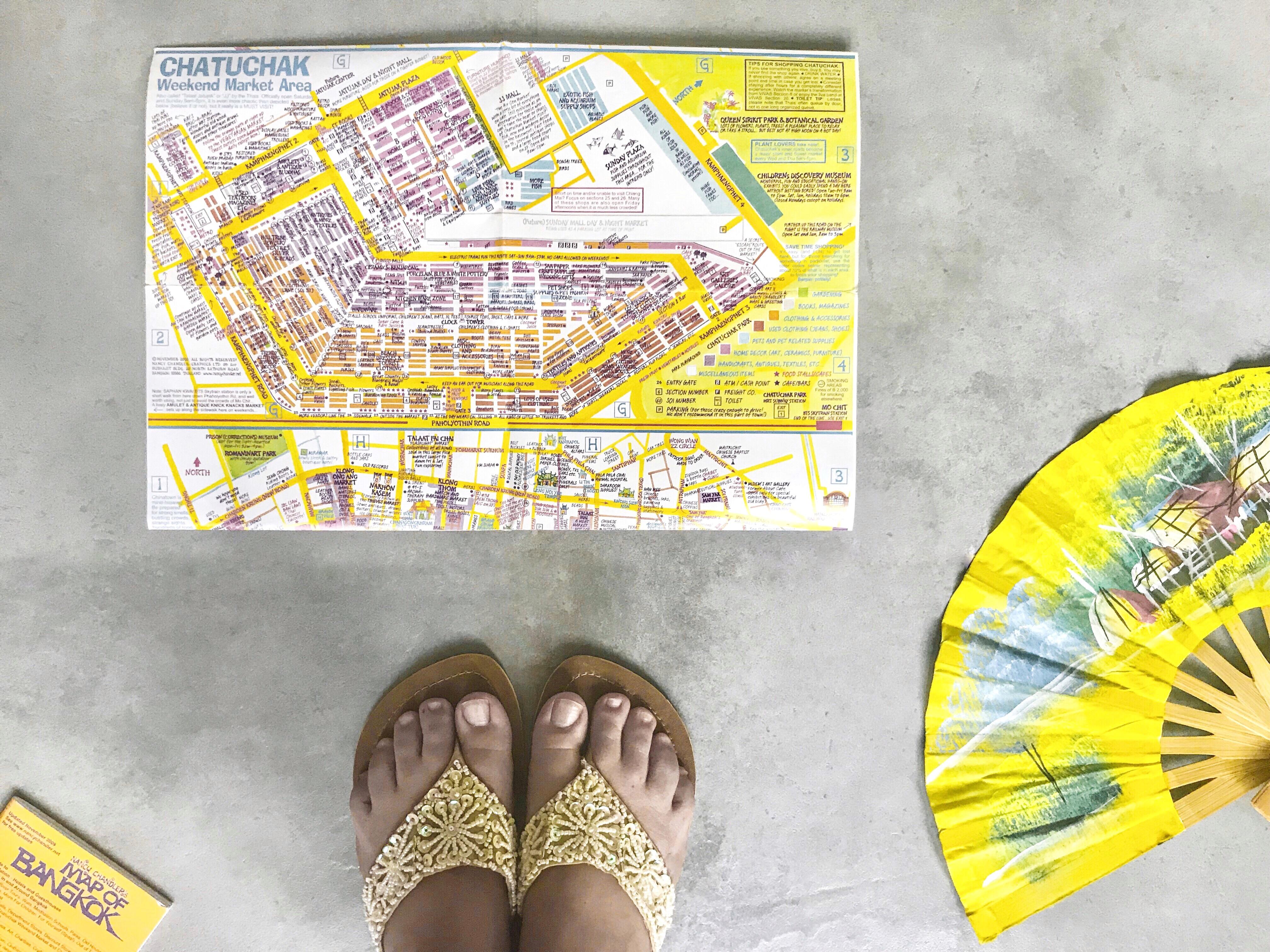 mappa Chatuchak Market, ventaglio, infradito