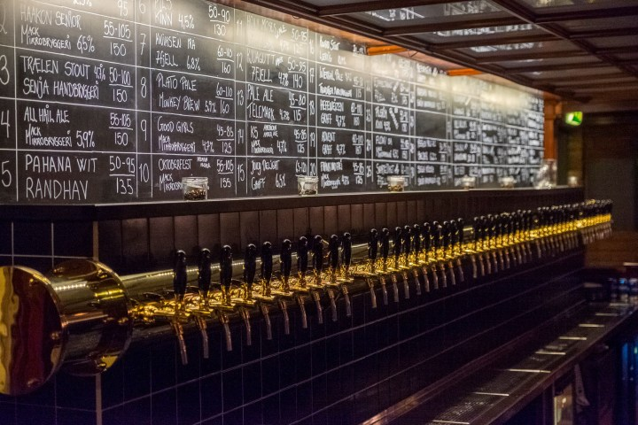 Shows the taps at Mack Brewery