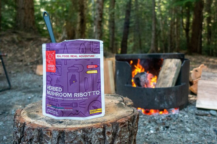 Good to Go Risotto in front of a campfire
