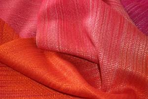 Laura Fry. Orange painted warp fabric