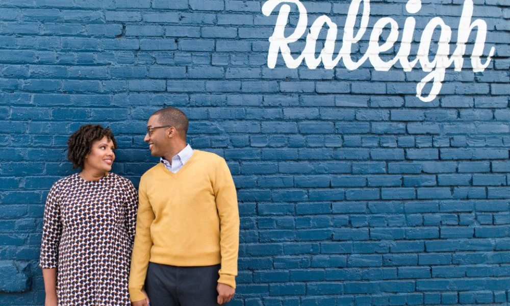 Downtown Raleigh Engagement Session with Vintage Style 26