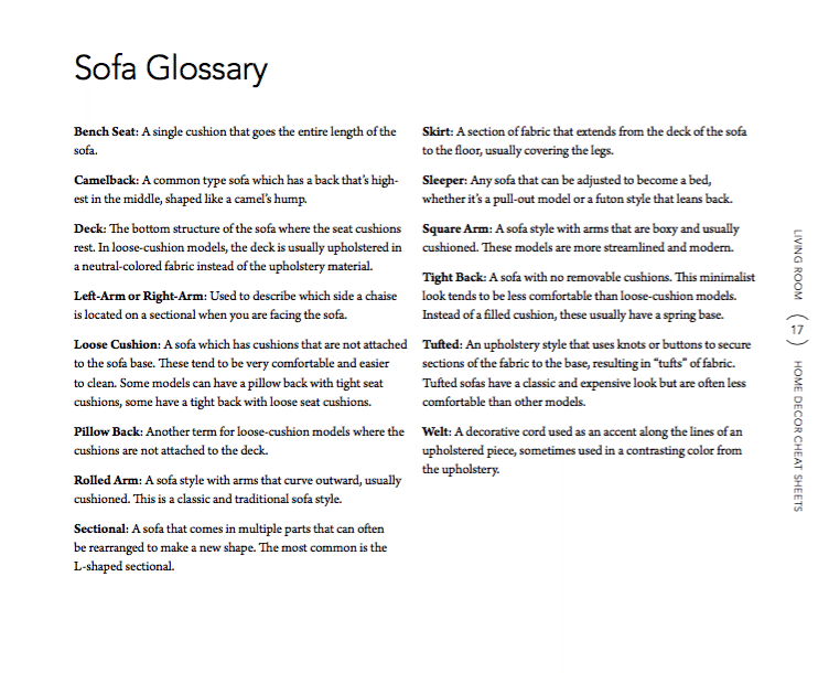 sofa-glossary 6 Home Decor Cheat Sheets for a Southern Homeowner