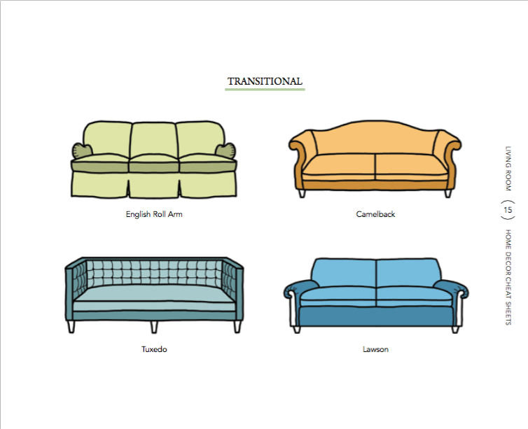 sofa-styles-2 6 Home Decor Cheat Sheets for a Southern Homeowner