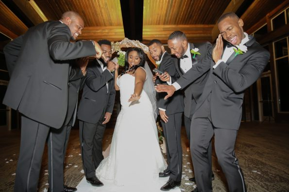 Roberson-235-bride-w-groomsmen-595x397 Spelhouse Love Reigns in Music City