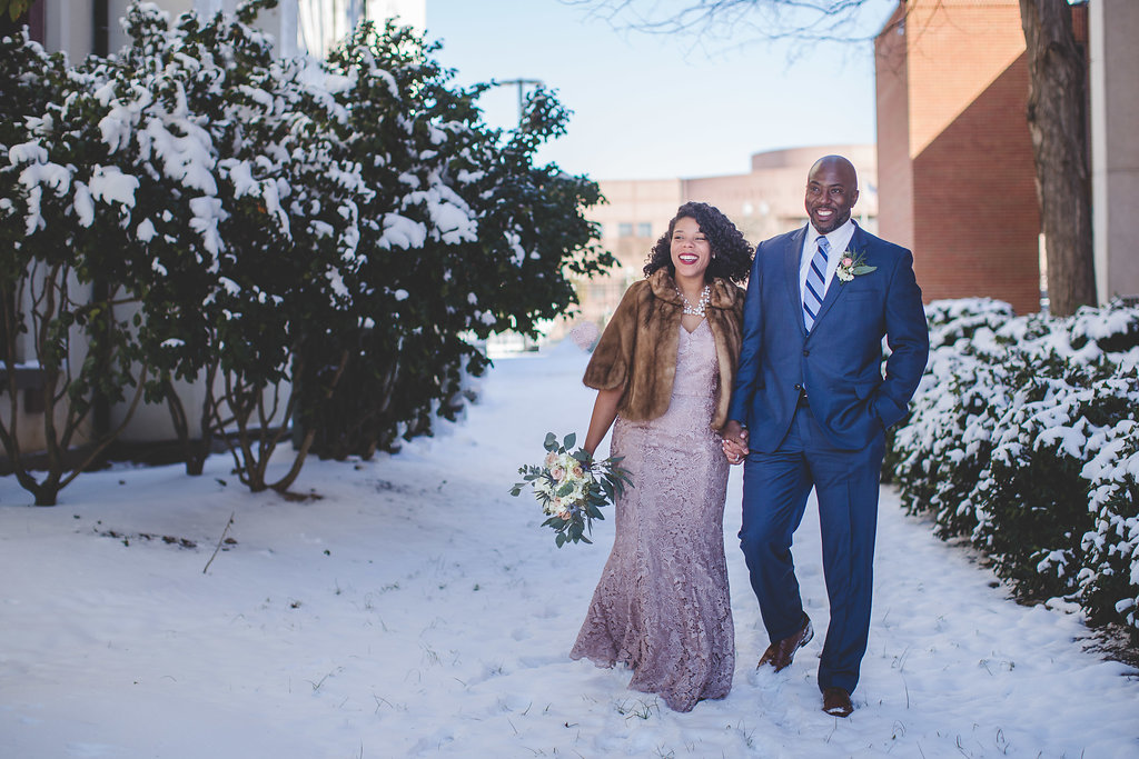 Snowy Charlotte, NC Elopement