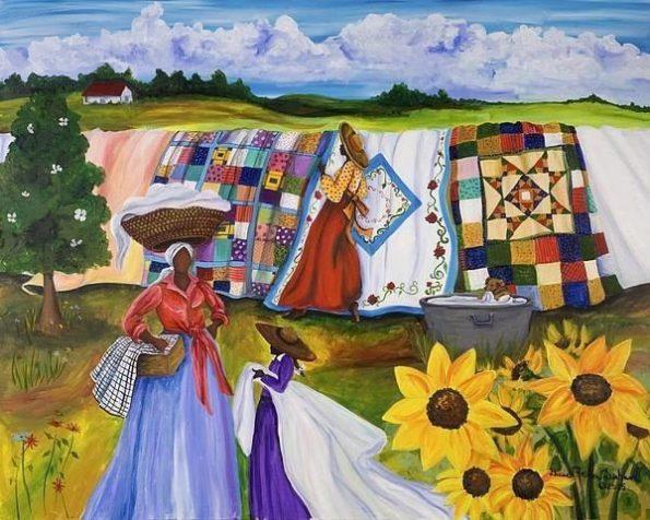 9c0ac29874bf8e5bd760d91c1c6a87b7-595x476 16 Images of Black Sisterhood Through Gullah Art