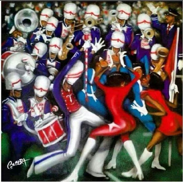 3e6ecc68de814a8779b23a91a27ab3a5-marching-bands-black-art-595x593 HBCU Colleges In Fine Art: Pieces of HBCU Art To Adore