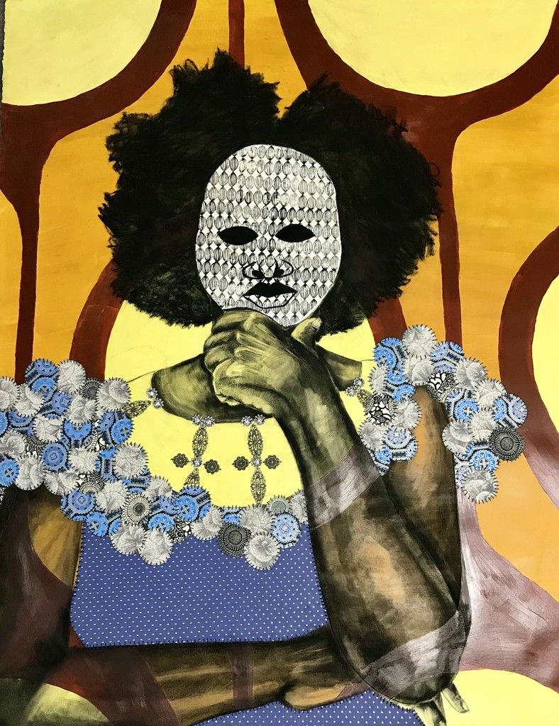 Delita-THE-MASK-I-WEAR-2017-Acrylic-Relief-Printing-Decorative-Papers-Charcoal-Hand-Stitching-Metal-Ornamentation 10 Southern Black Women Artists to Watch from Expert Curator Jonell Logan