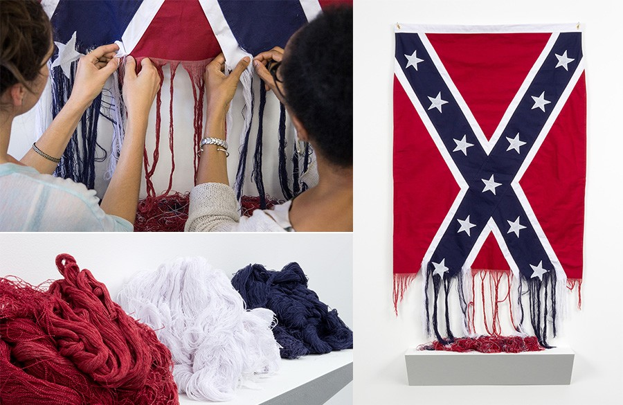 Sonya-UNRAVELED-AND-UNRAVELING-2015-Battle-Flag-of-the-Confederacy-cotton 10 Southern Black Women Artists to Watch from Expert Curator Jonell Logan