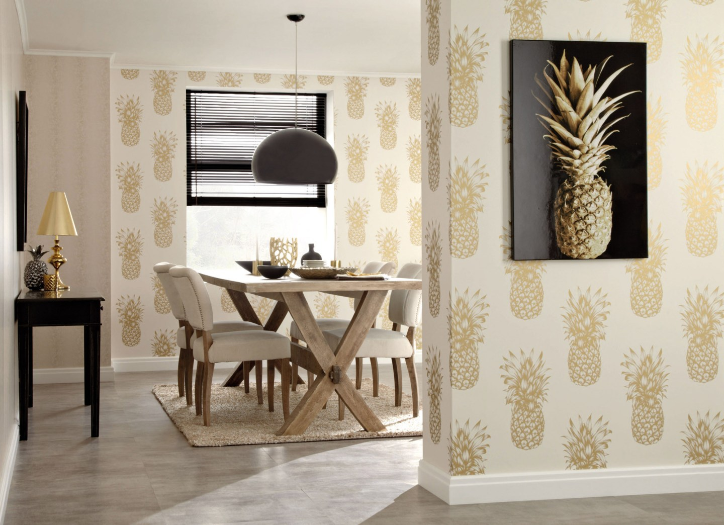 ARTHOUSE-Arthouse-Copacabana-Gold-Wallpaper-1420177-1-1440x1044 Pineapple Decor: Tips for Decorating Your Home with Southern Hospitality