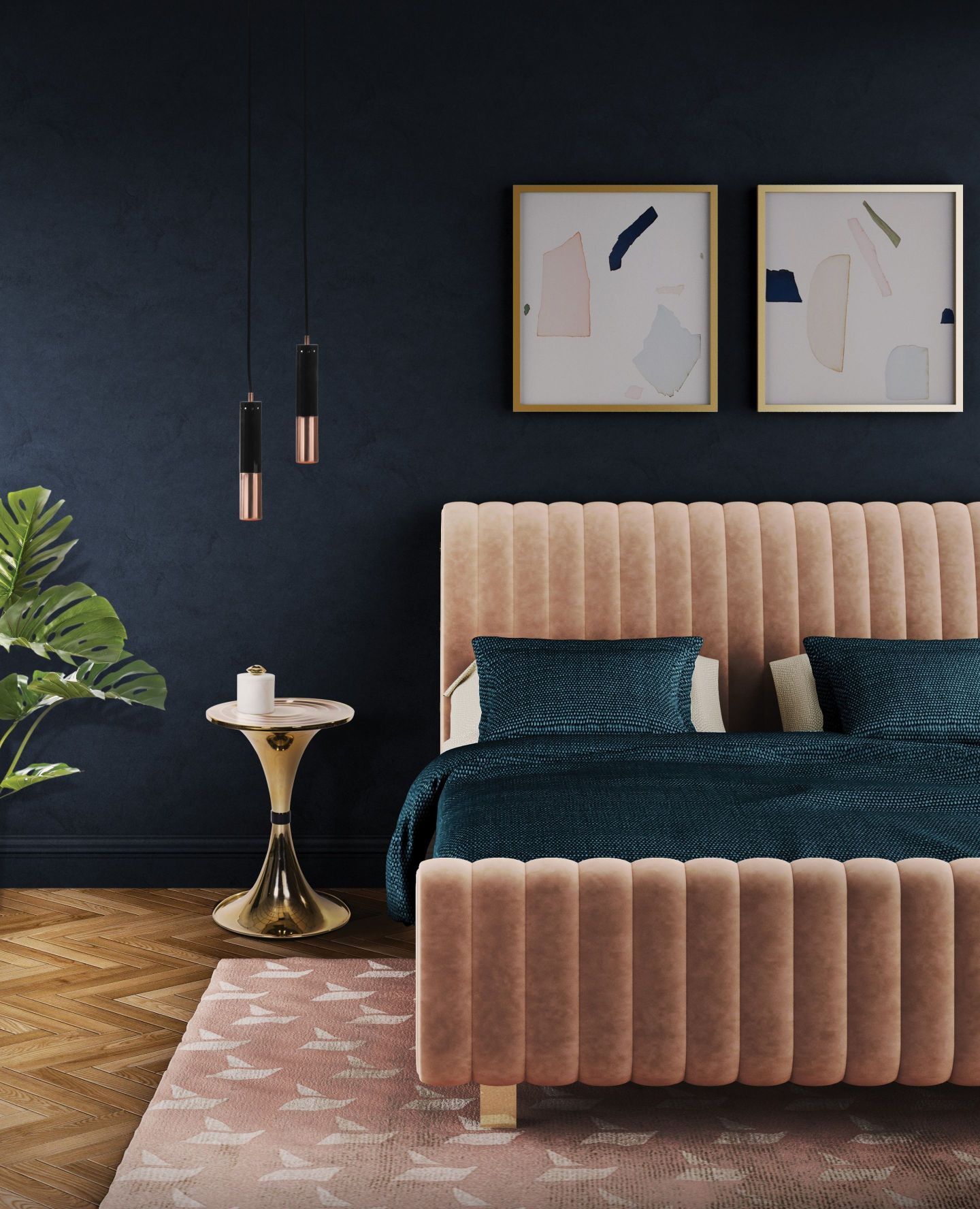 Bedroom-_-Velvet-changes-everything--1440x1776 Modern Furniture with a Retro Twist for a Southern Home