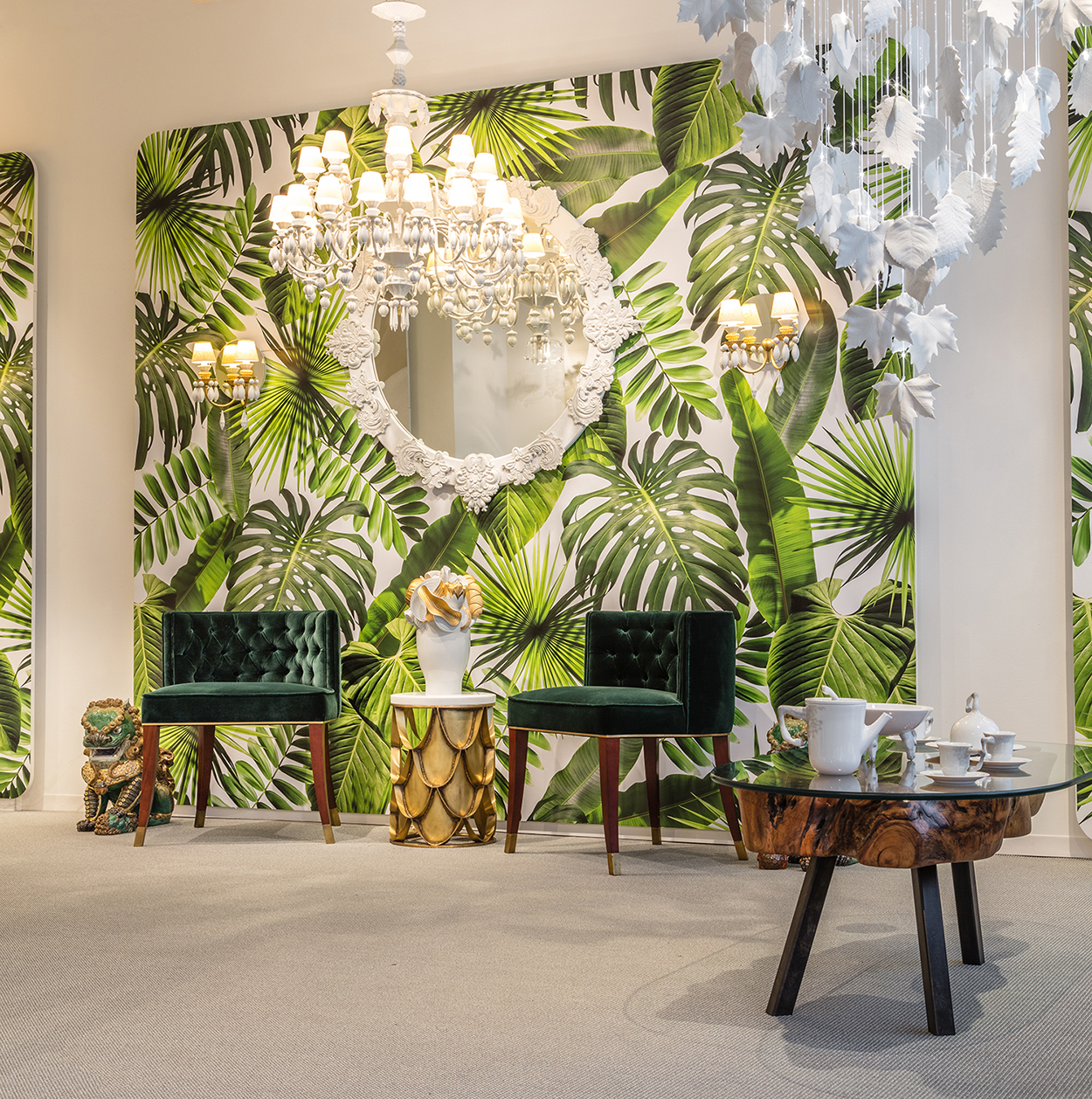 Brabbu-Design-Forces-A-green-garden-wallpaper-featuring-BOURBON-dining-chair-by-BRABBU-Lladró-2073355 Inspired By Nature: How to Add Green to Your Home