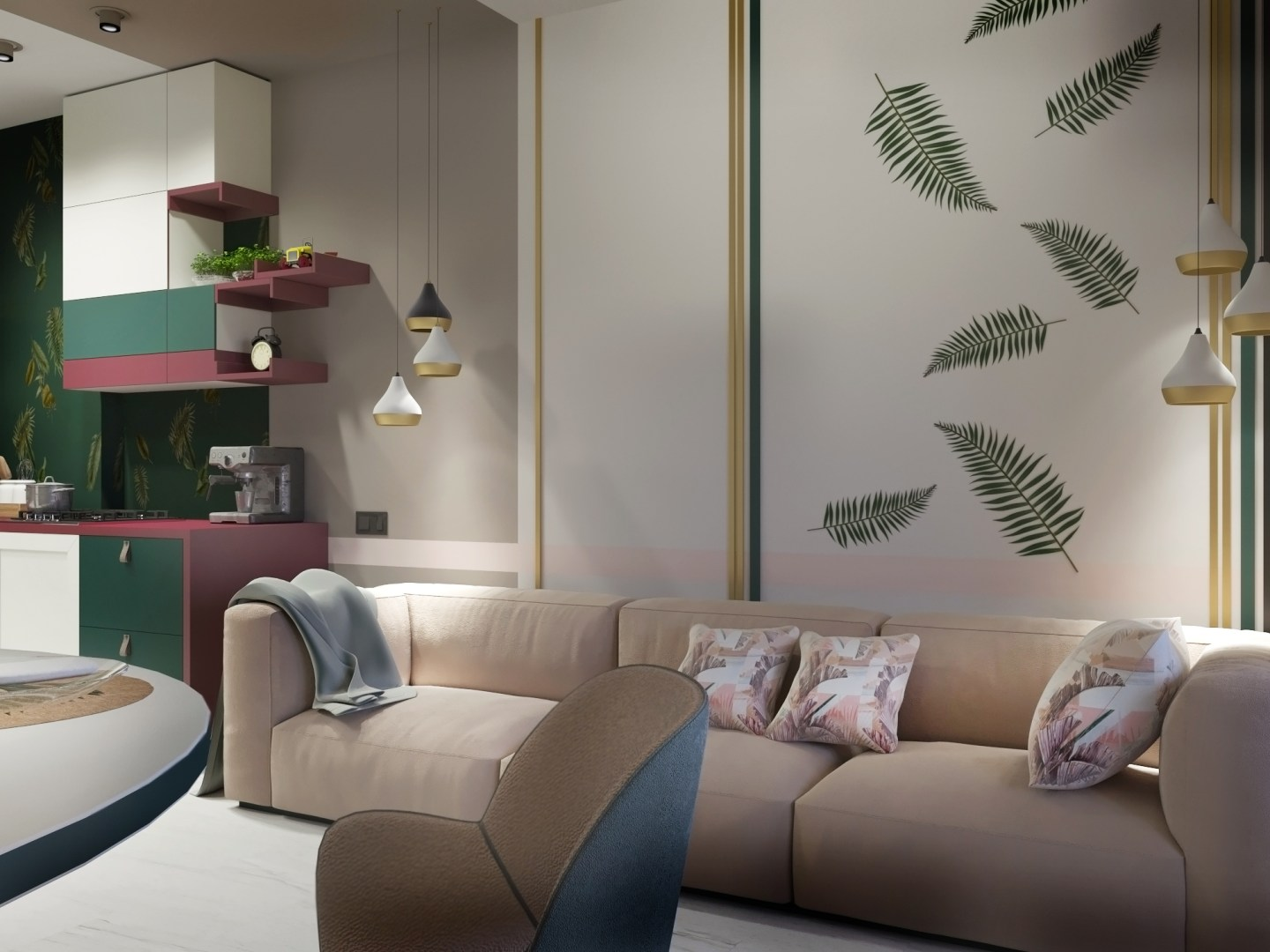 DelightFULL_3022502_GreenandPinkLivingroomwallpape.jpg-1440x1080 Pink and Green Rooms We Adore - Alpha Kappa Alpha Decor