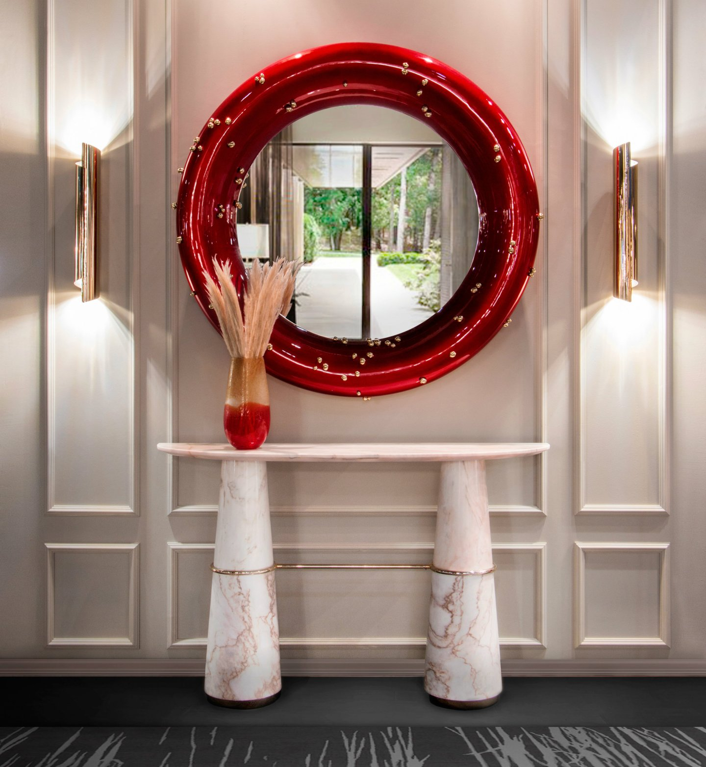 Hall-_-Red-and-White-for-Fall-1440x1564 DST Home Decor Inspiration: Crimson and Cream Design Style