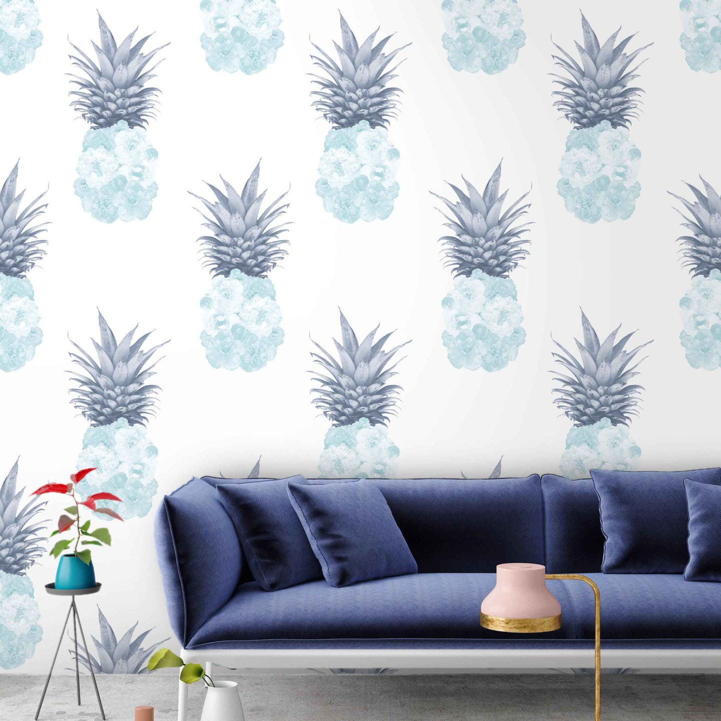 Woodchip-and-Magnolia-Ludic-Duck-Egg-Navy-Pineapple-Wallpaper-1753415-1-1440x1440 Pineapple Decor: Tips for Decorating Your Home with Southern Hospitality