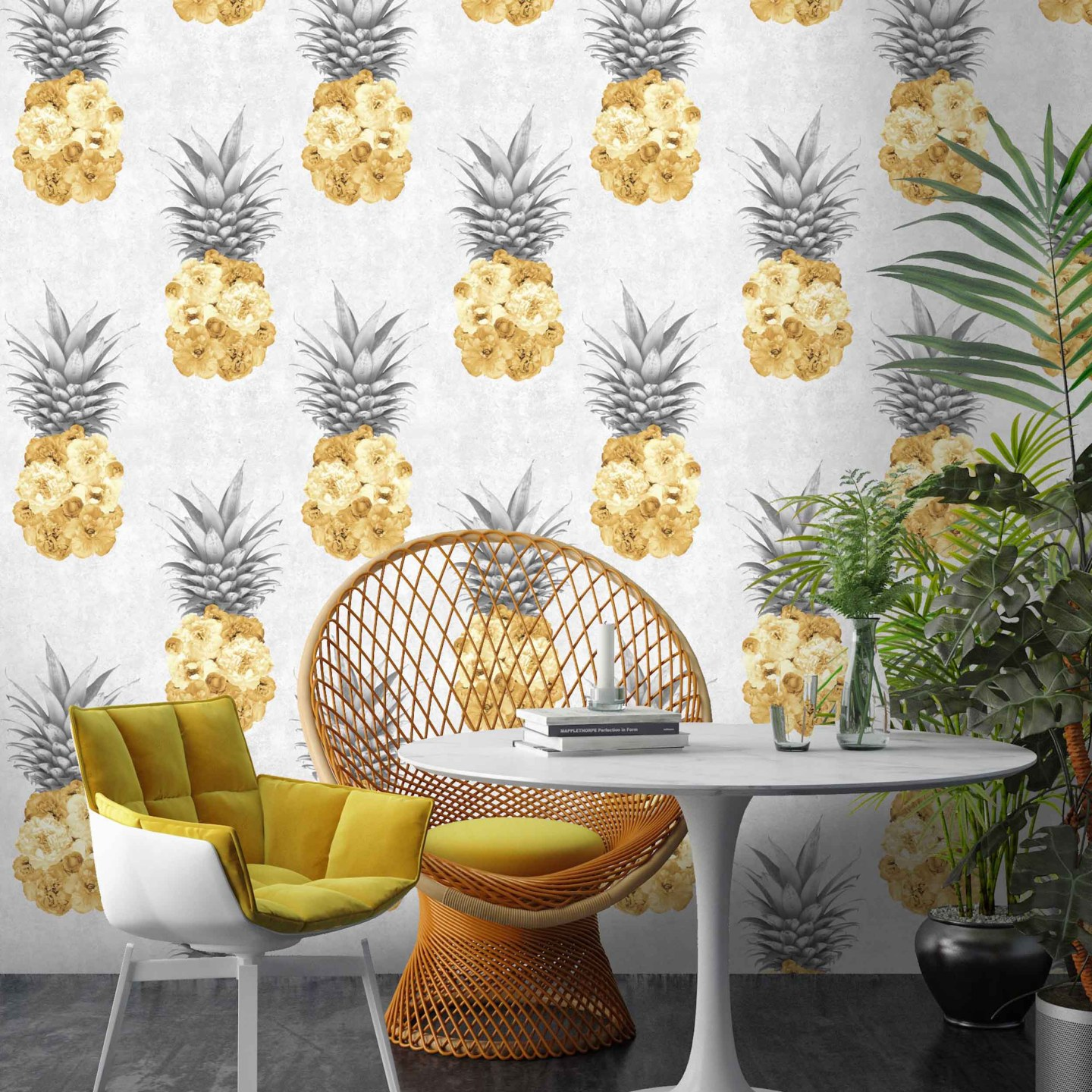 Woodchip-and-Magnolia-Ludic-Yellow-Pineapple-Wallpaper-1730876-1-1440x1440 Pineapple Decor: Tips for Decorating Your Home with Southern Hospitality