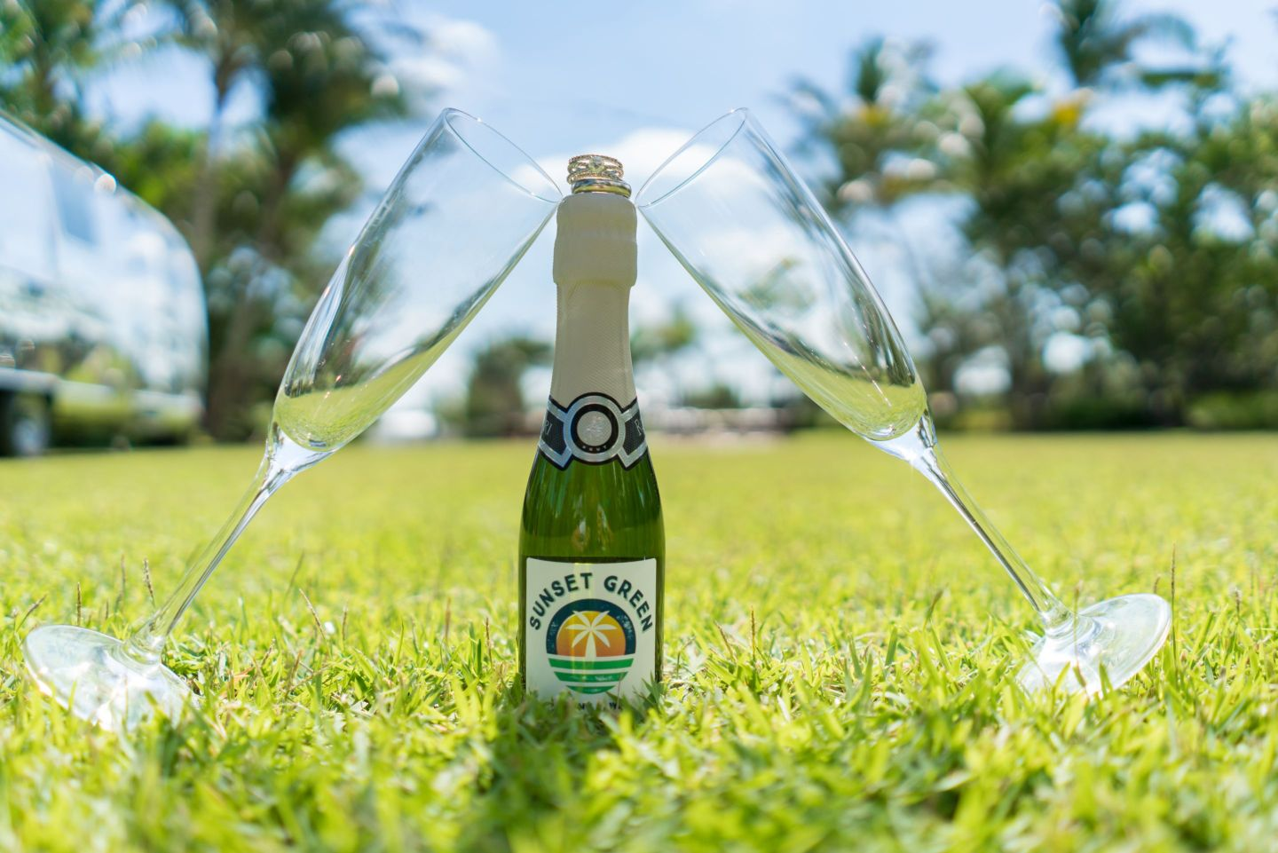 Sunset-Green-Champagne-On-Grass-2-1440x961 Coastal Party Inspiration: How to Host a Key West Style Party