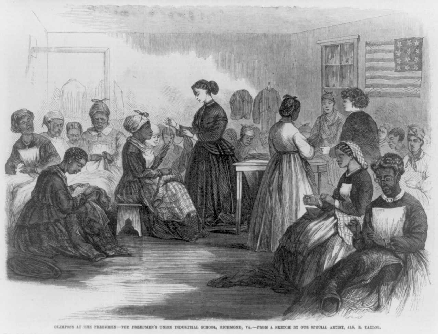 1280px-Freedmen_richmond_sewing_women Heritage Travel: Finding Freedom After Civil War: The Sumter Freedmen's School