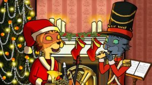cats with Christmas caps and a kazoo