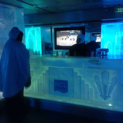 The actual Bar inside the Ice Bar on the Norwegian Getaway
