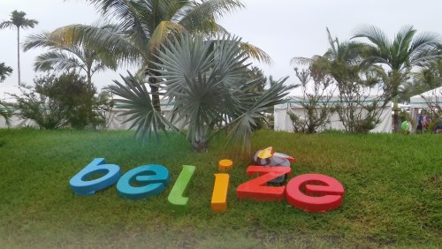 Belize ground sign at Harvest Caye in Belize