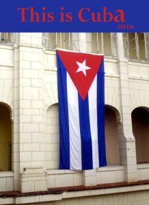 Cuban flag hanging at the Revolution Museum in Havana Cuba