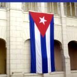 Cuban flag hanging at the Revolution Museum in Havana Cuba