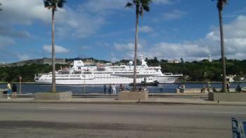 Cruise Ship pulling into Cuba!