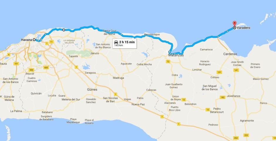 Map of Havana to Varadero