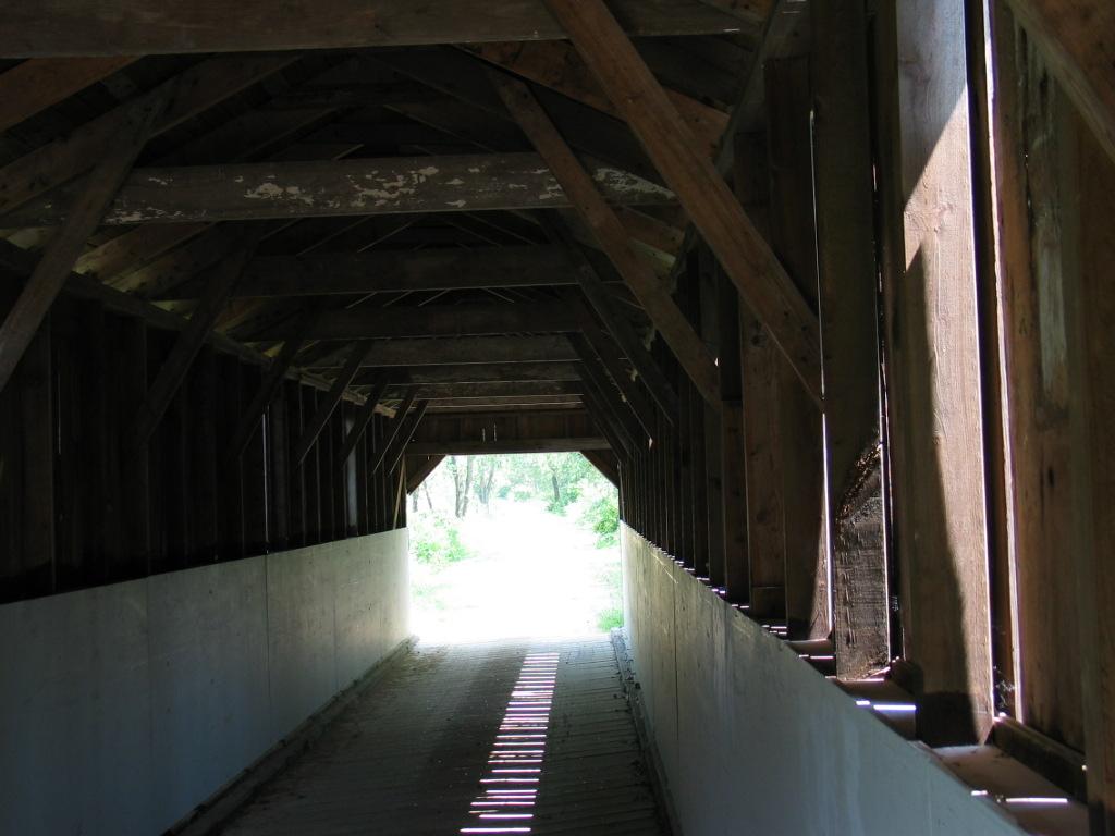 Inside the Sugar River Trail Covered Bridge