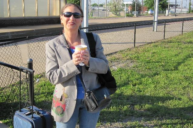 Waiting at train station