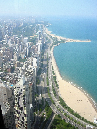 Lake Shore Drive from Hancock Observatory