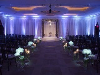 Wedding ceremony with uplighing in blue