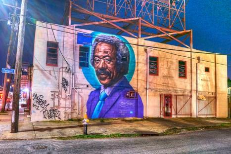 Black to the Music - Allen Toussaint mural by Brendonart (c) Eli Mergel