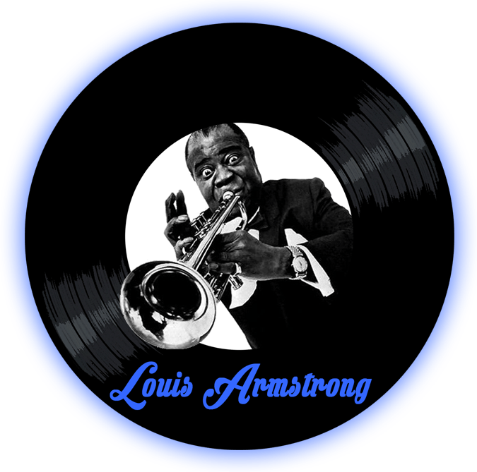Black to the Music - Louis Armstrong logo header