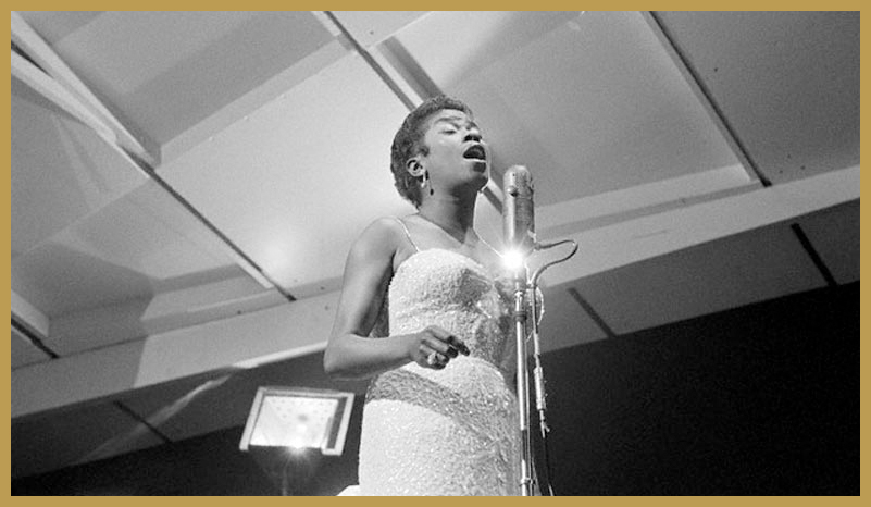 Black to the Music - 1957 Jazz vocalist Sarah Vaughan during a performance at the Newport Jazz Festival (photo Ted Williams)