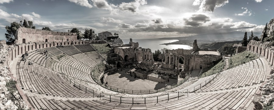 Panoramic view of The Greek theater in Taormina, Sicily