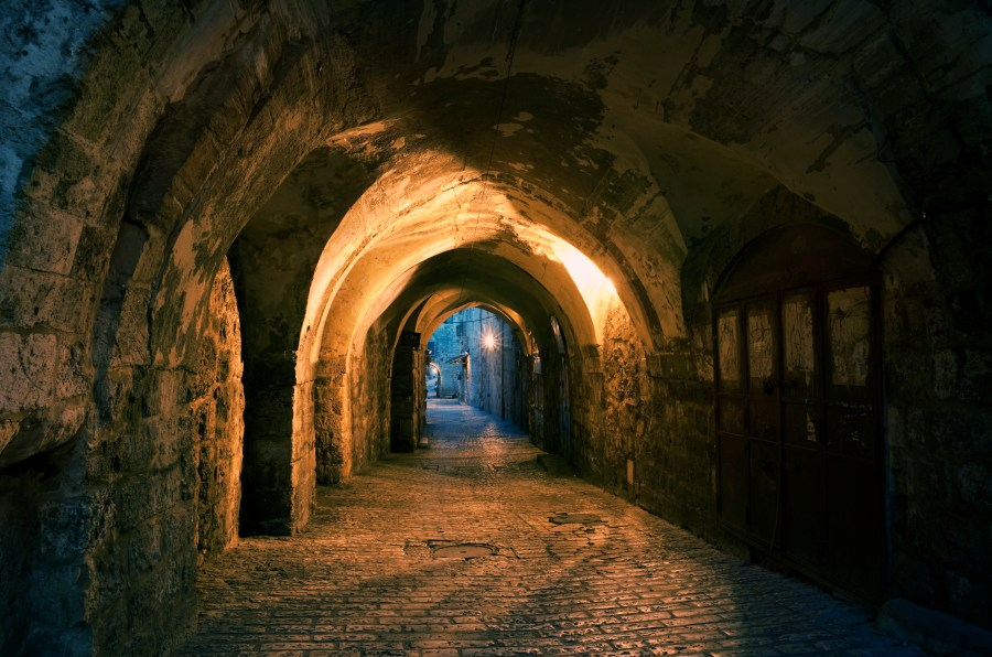 Old city of Jerusalem in twilight