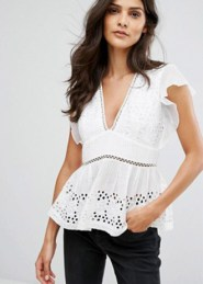 French Connection - Hesse - Top en broderie anglaise
