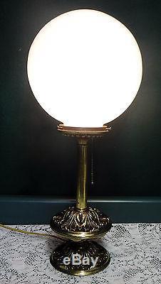 Vintage Crescent Brass Co Parlor Table Lamp White Milk
