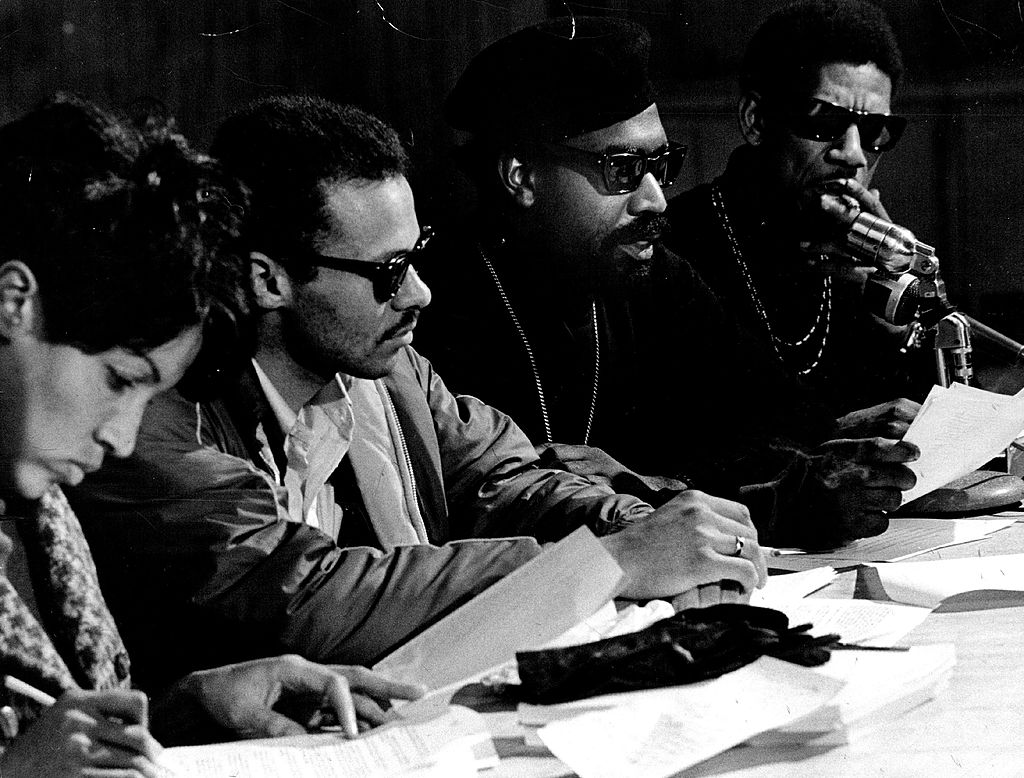 JAN 13 1968, JAN 14 1969; Black Panther Leader Discusses Cole Junior High School Ban On Seven Persons Attempting To Attend Teachers Meeting; From left are Mrs. Jean Moss; Frank Bailey, chairman of Denver Congress on Racial Equality (CORE); Lauren Watson, Denver Black Panther party leader; and Joe Boyd, staff member of the University of Colorado New Careers. Boyd and six others were denied admission to meeting.