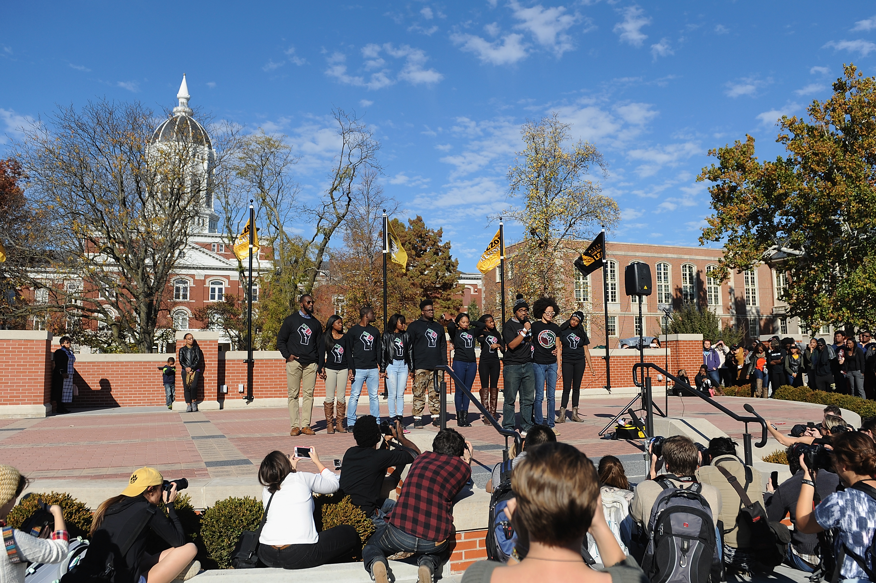 COLUMBIA, MO - NOVEMBER 9: Members of the Concerned Student 1950 movement speak to the crowd of students on the campus of University of Missouri - Columbia on November 9, 2015 in Columbia, Missouri. Students celebrate the resignation of University of Missouri System President Tim Wolfe amid allegations of racism.