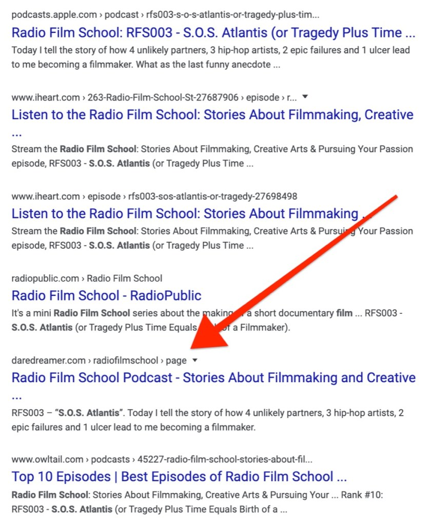 Radio Film School SERP shows sites with duplicate content.