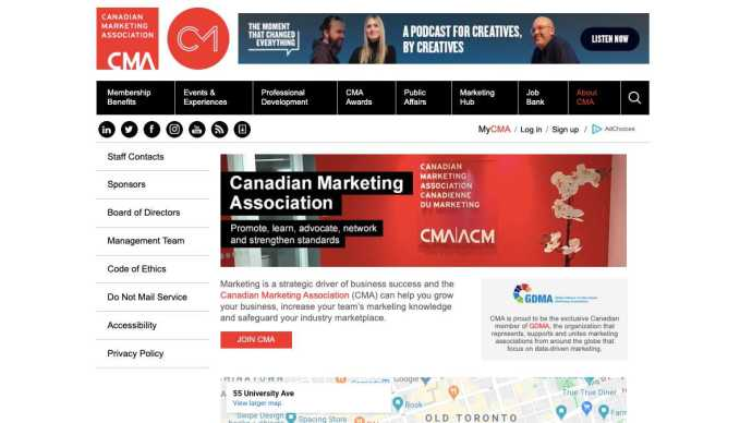 Canadian Marketing Association website About page