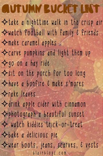 Autumn Bucket List | Blair Blogs