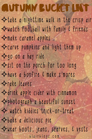 Autumn Bucket List | Blair Blogs