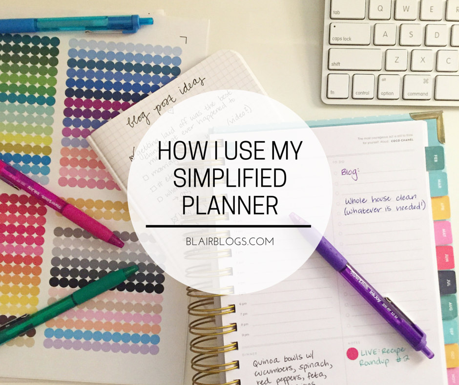 How I Use My Simplified Planner | Blairblogs.com