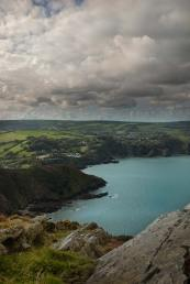 A view of Wild Pear Beach and Combe Martin from the Great Hangman